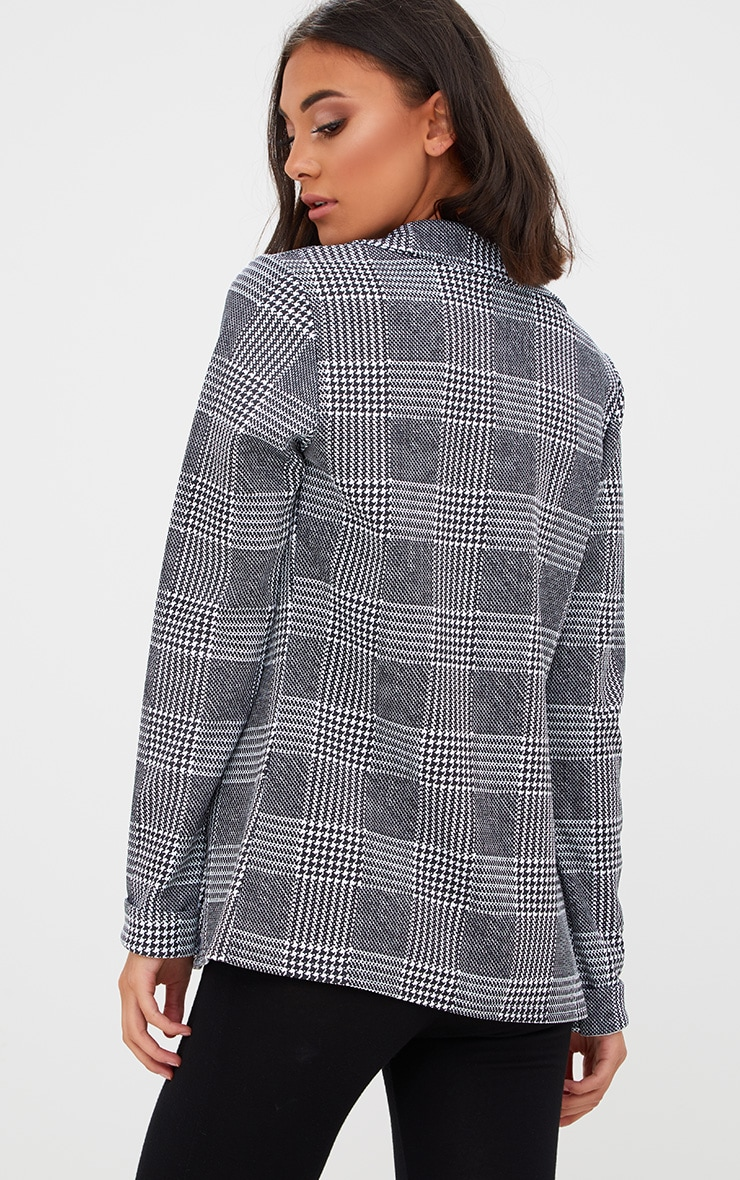 Black Check Long line Blazer 2