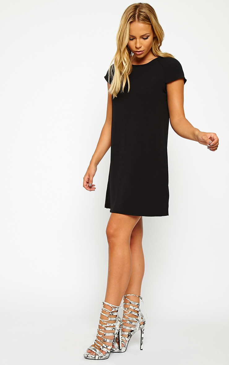 Sabra Black Waffle Loose Fit Shift Dress 3