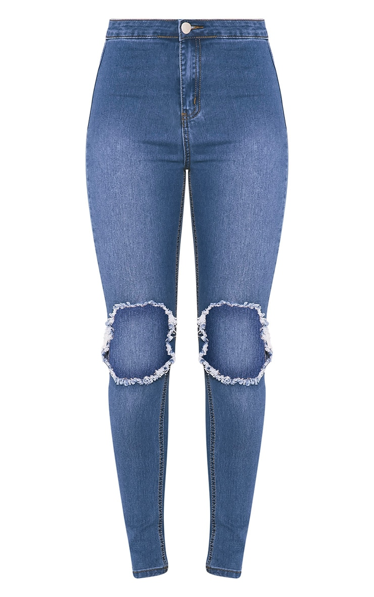 Mid Wash Open Knee Rip High Waisted Skinny Jean 3