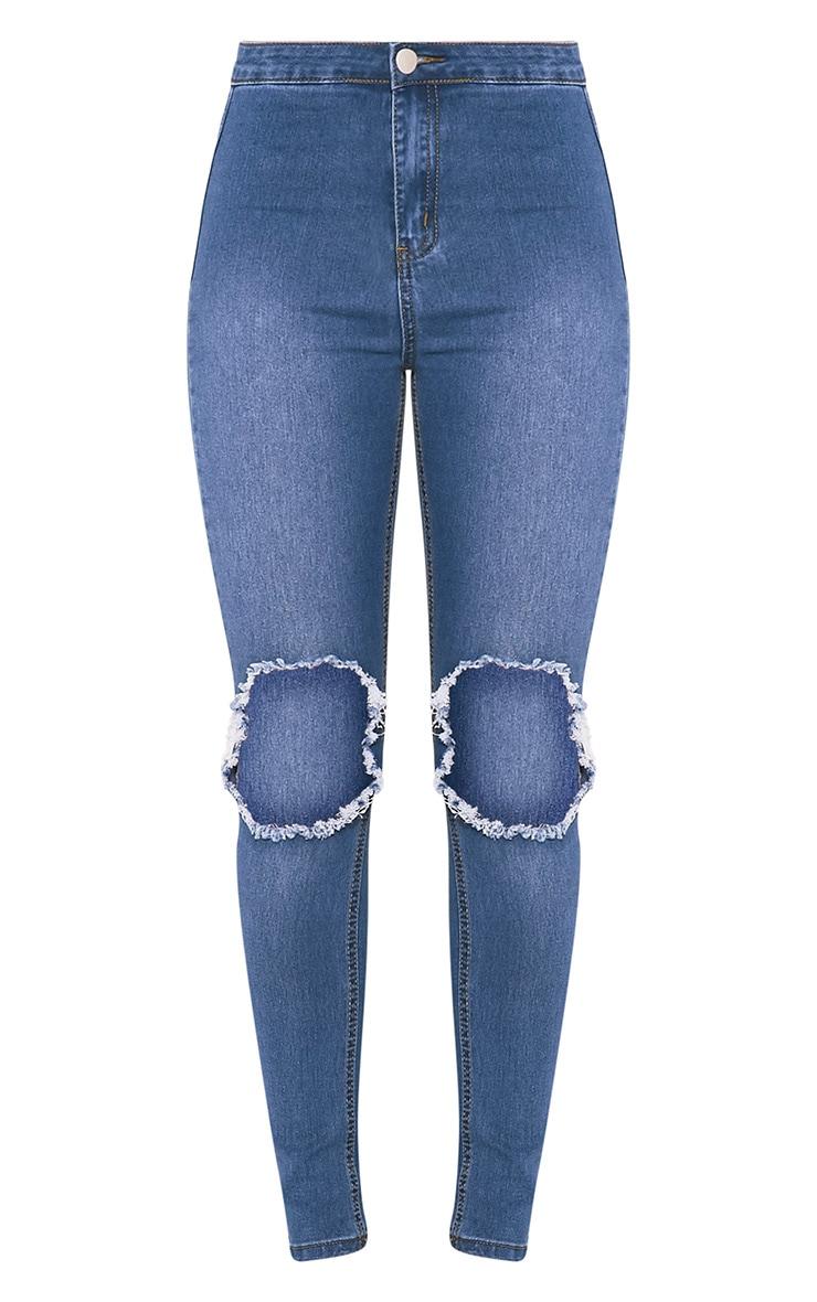Kylie jean skinny taille haute déchiré aux genoux délavage moyen 3