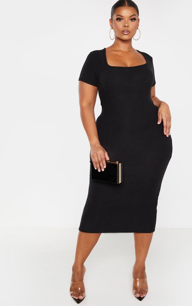 Plus Black Brushed Rib Square Neck Midi Dress 1