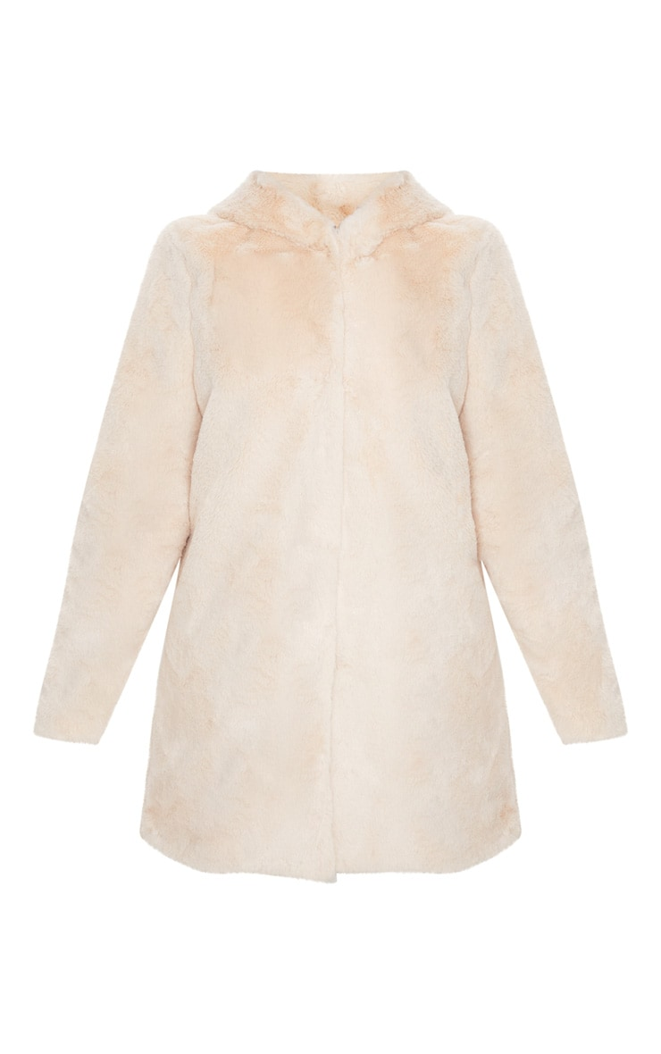 Stone Faux Fur Hooded Coat 3