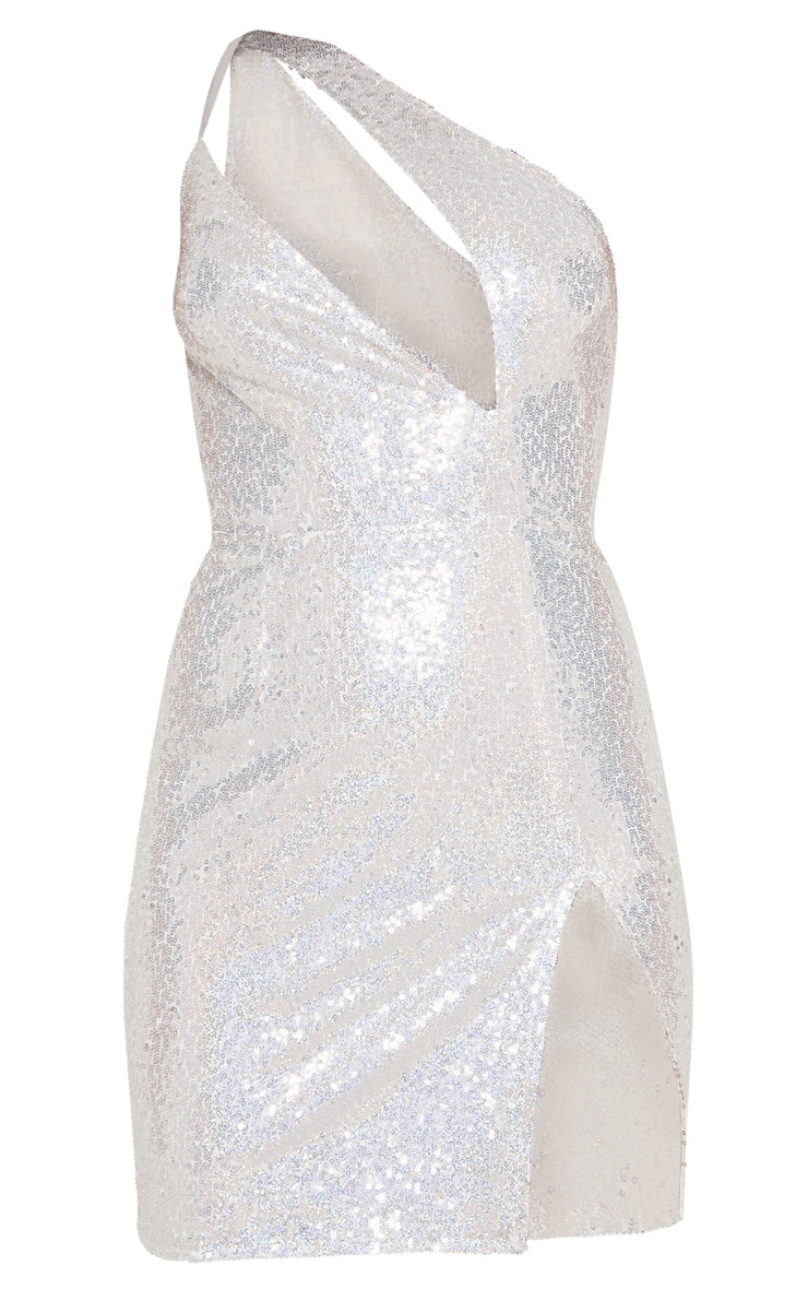 Silver Sequin One Shoulder Cut Out Bodycon Dress 5