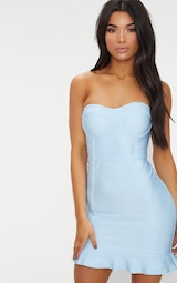 Dusty Blue Bandage Frill Hem Bodycon Dress 1