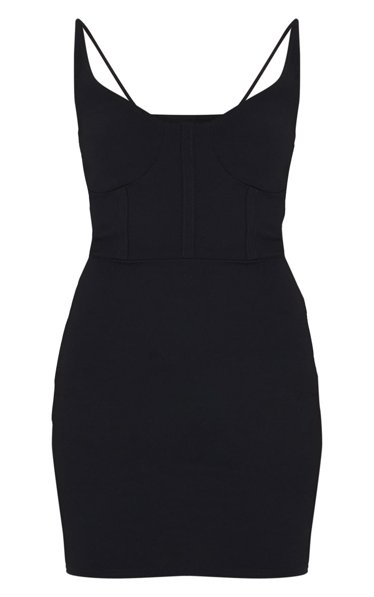 Black Cup Detail Strappy Bodycon Dress 5
