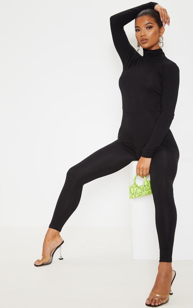Black Roll Neck Long Sleeve Jumpsuit 4