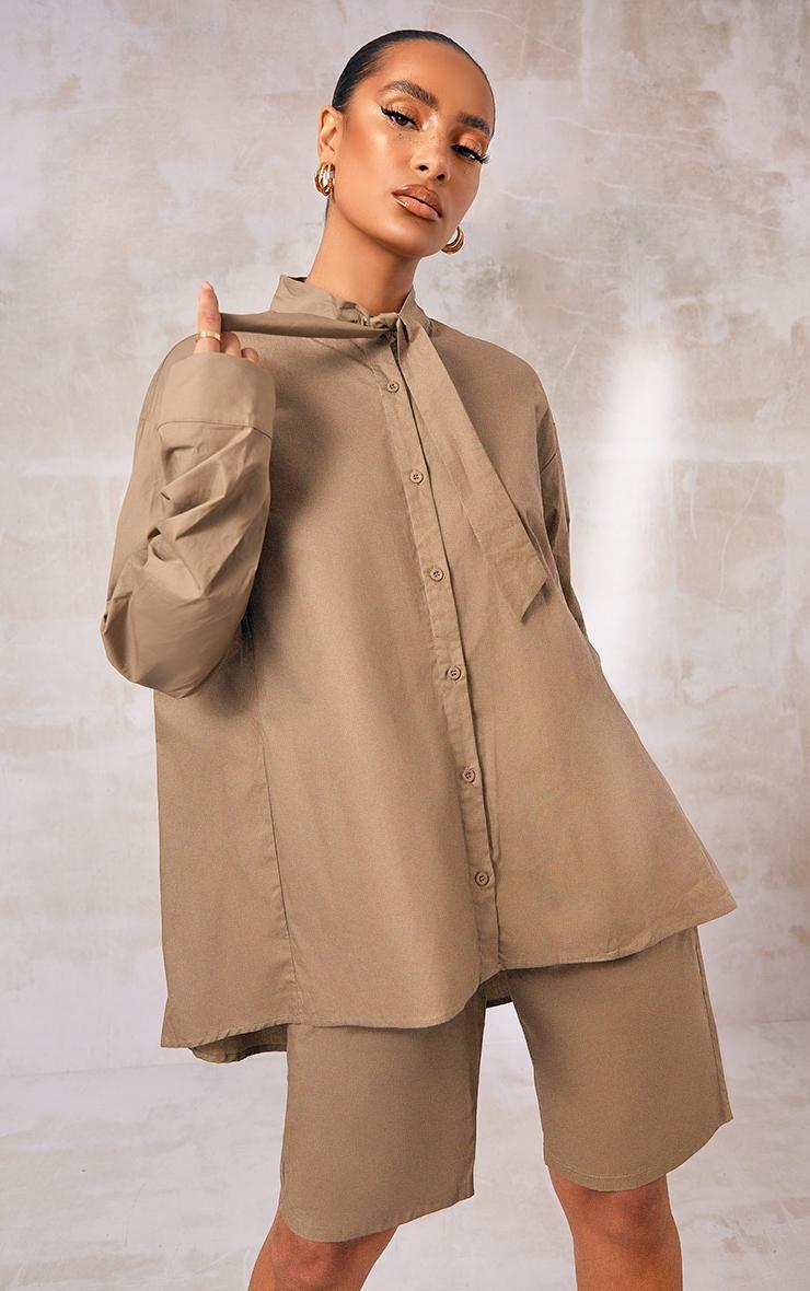 Khaki Woven Oversized Tie Detail Shirt