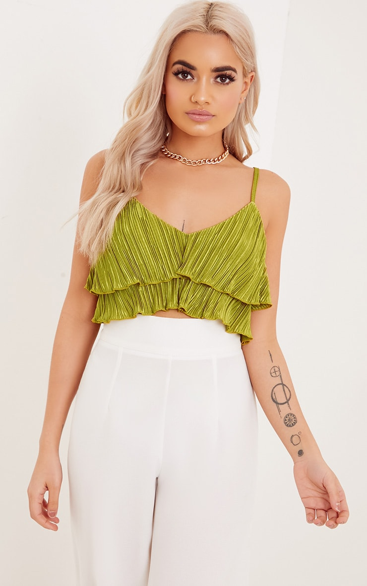 Lalla Lime Pleated Ruffle Cami Crop Top 1