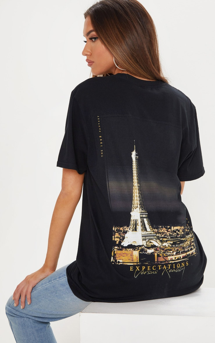 Black Paris Print Oversized T shirt 2