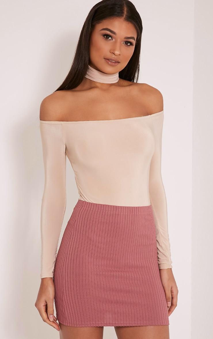 Kristine Rose Ribbed Mini Skirt 1