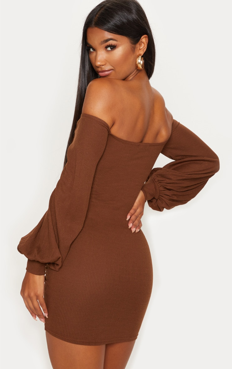 Chocolate Brown Ribbed Bardot Balloon Sleeve Ruched Bodycon Dress 2