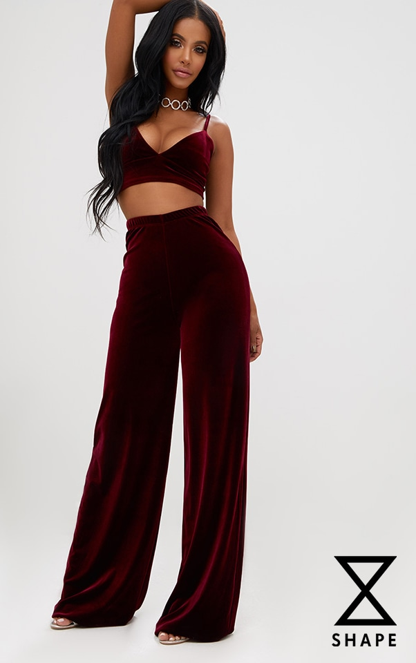Shape Wine Velvet Wide Leg Trousers  1