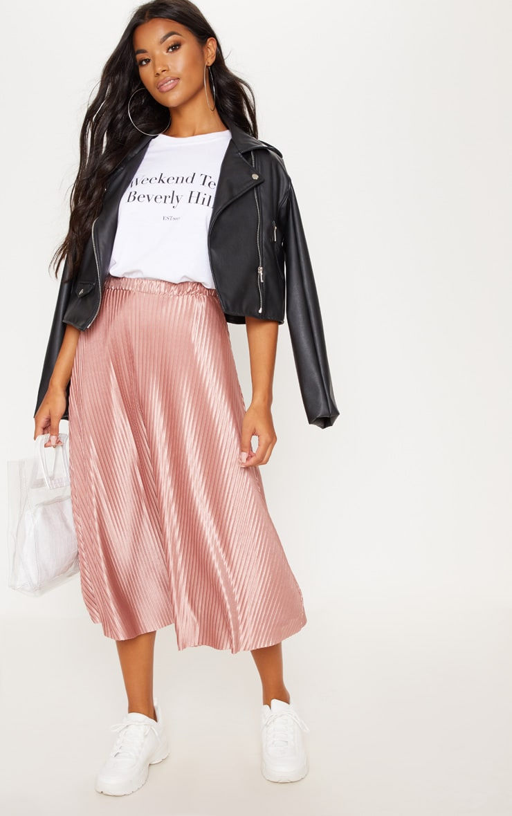 Rose Pleated Full Midi Skirt