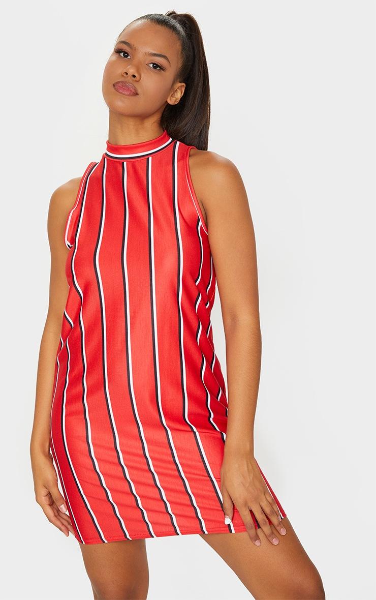Red Stripe Sleeveless Oversized T Shirt Dress 3