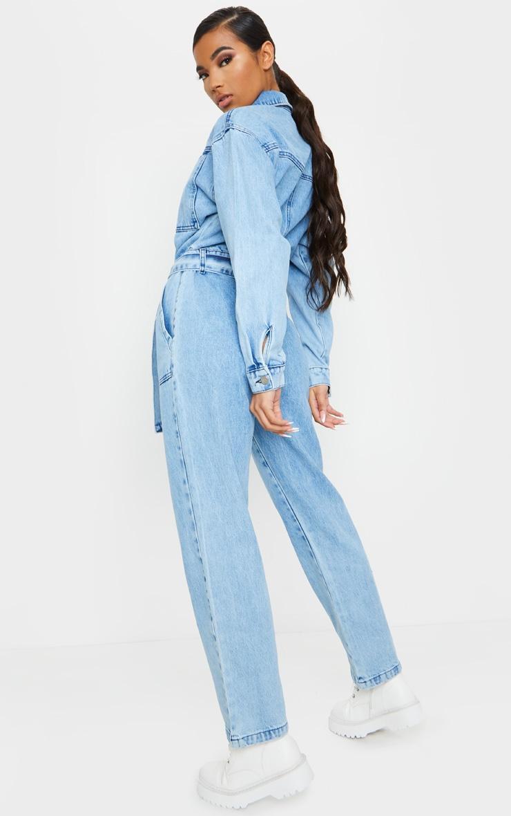 Acid Blue Wash Oversized Denim Jumpsuit 2
