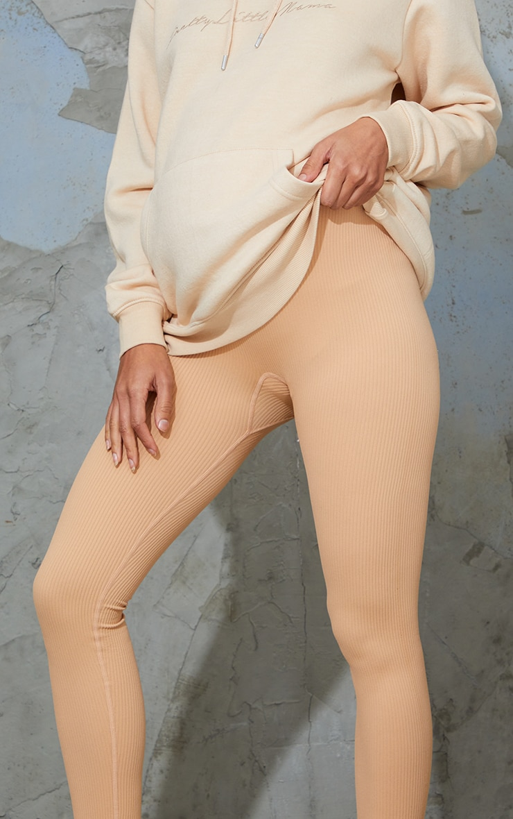 Maternity Camel Contour Ribbed Bump Support Leggings 4