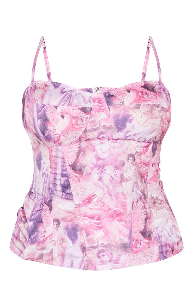 Plus Pink Print Renaissance Structured Corset Top 5