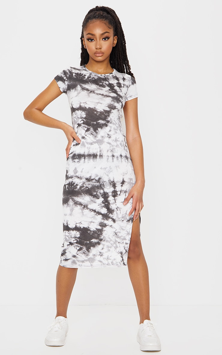 Black Tie Dye Print Cap Sleeve Split Front Midi Dress 1
