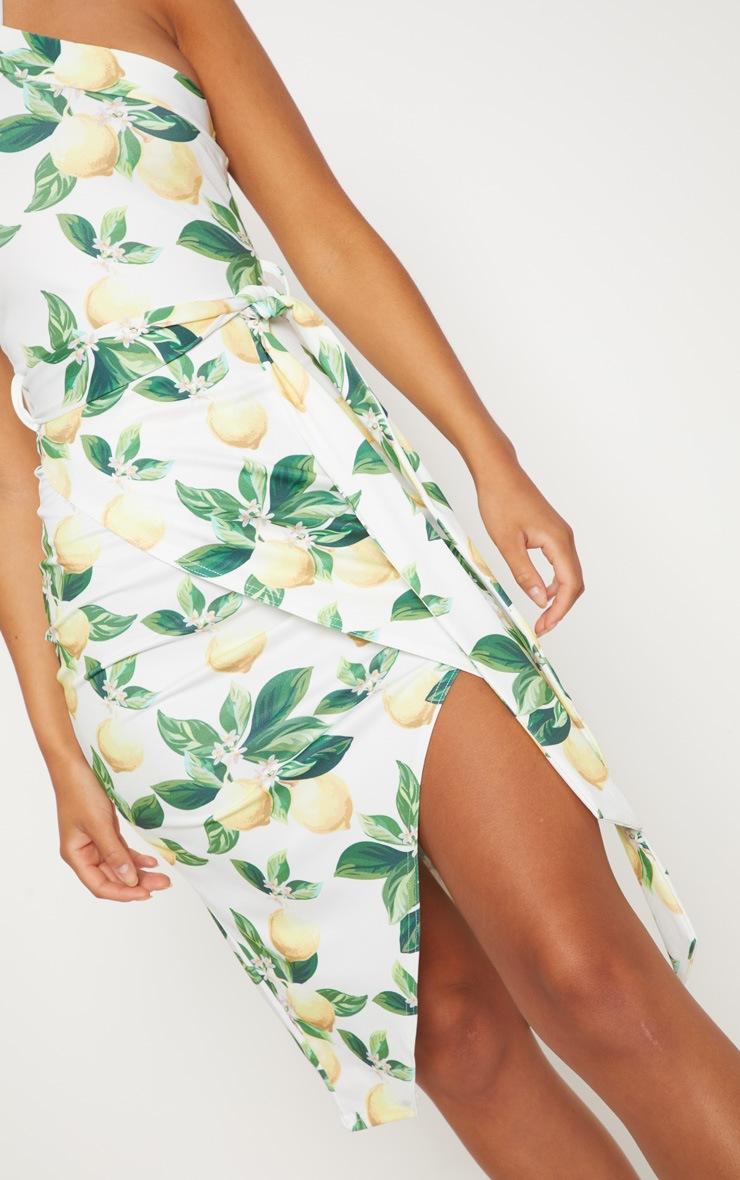 White Lemon Print Cross Neck Wrap Midi Dress 5