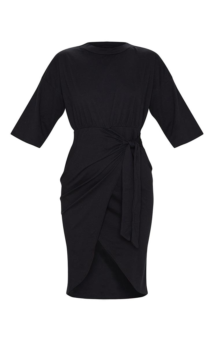 Black Wrap Tie Detail T Shirt Dress 5