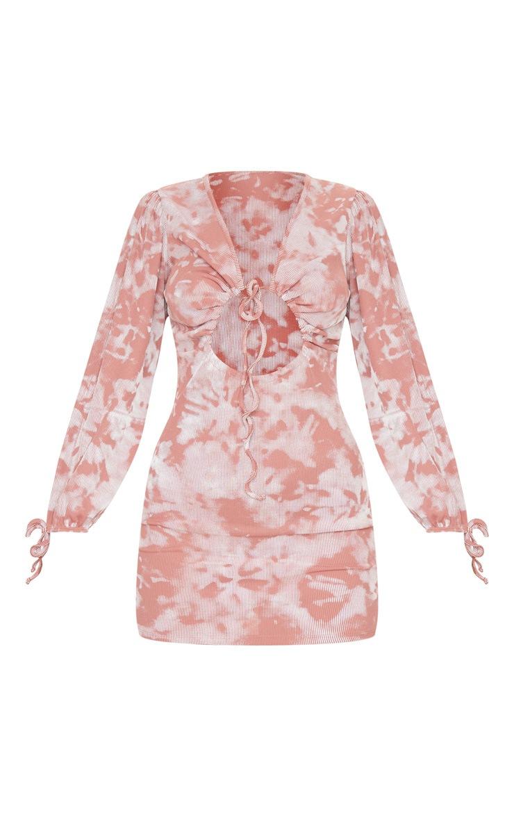Multi Tie Dye Print Tie Front Detail Long Sleeve Bodycon Dress 5