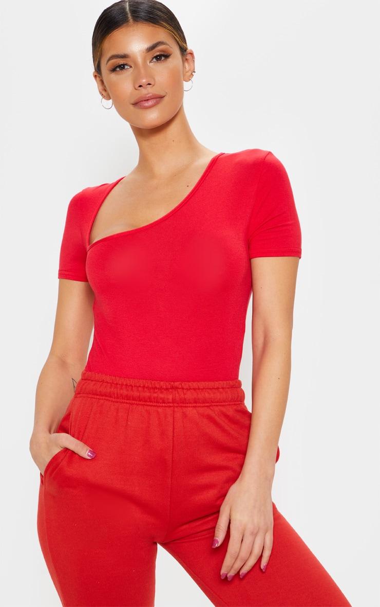 Red Asymmetrical Jersey Short Sleeve Thong Bodysuit 1