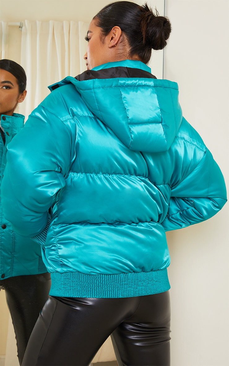 Green Satin Quilted Cuff Hem Puffer Jacket 2