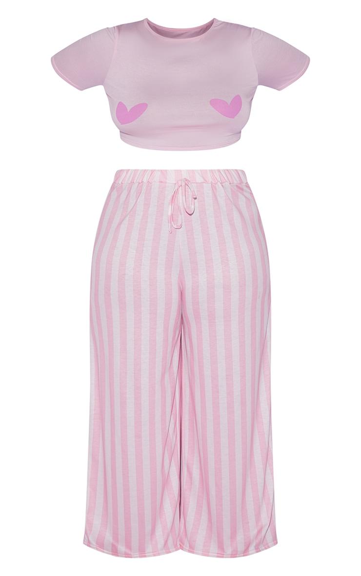 PRETTYLITTLETHING X Coppa Feel Pink Long Stripe Pants PJ Set 5