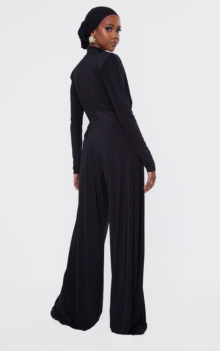 Black Slinky Drape Detail Pleated Wide Leg Jumpsuit 2