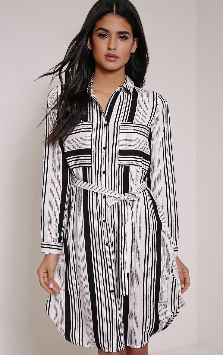 Maddison Stripe Tie Shirt Dress 1