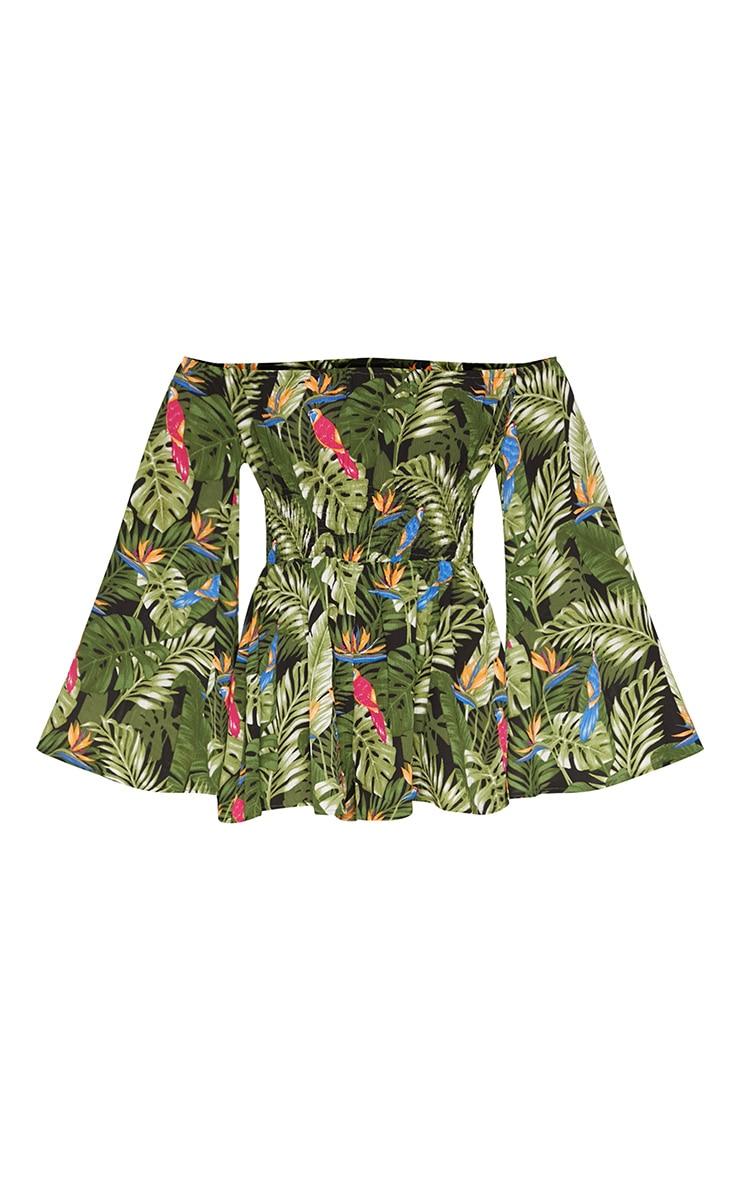 Green Tropical Bardot Playsuit 3