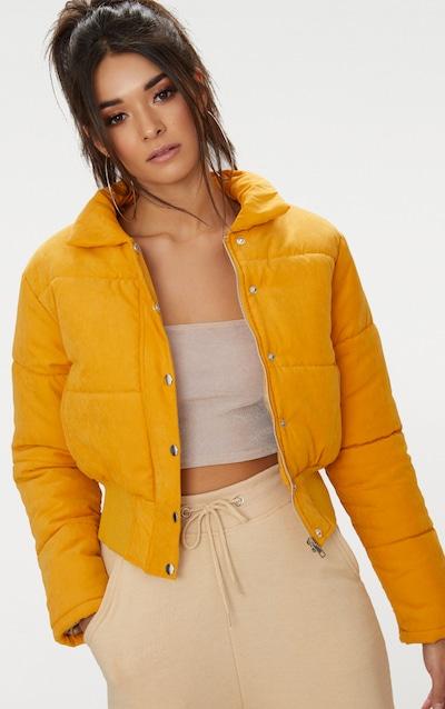 466a10b69b840 Mustard Peach Skin Cropped Puffer Jacket