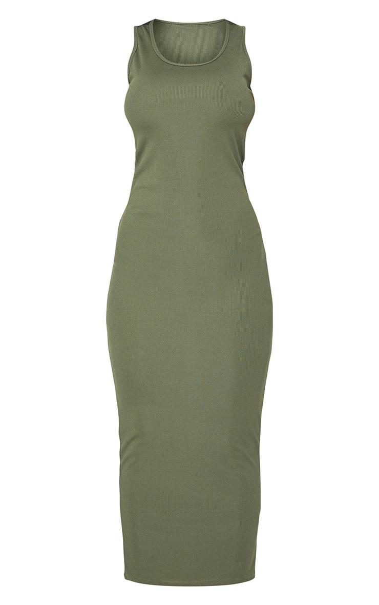 Khaki Basic Rib Maxi Dress 5