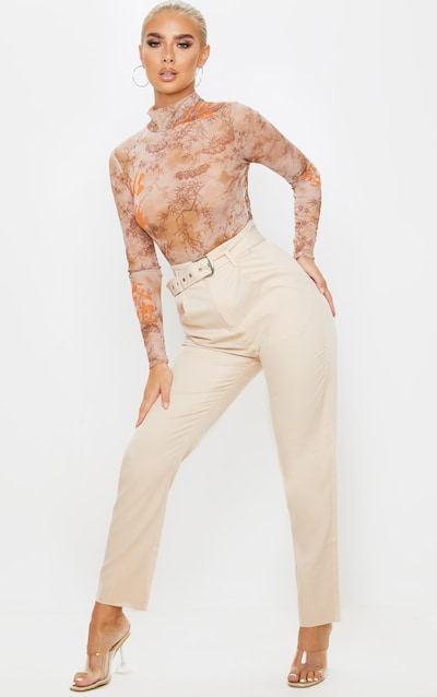 Stone Belted Tapered Leg Trouser