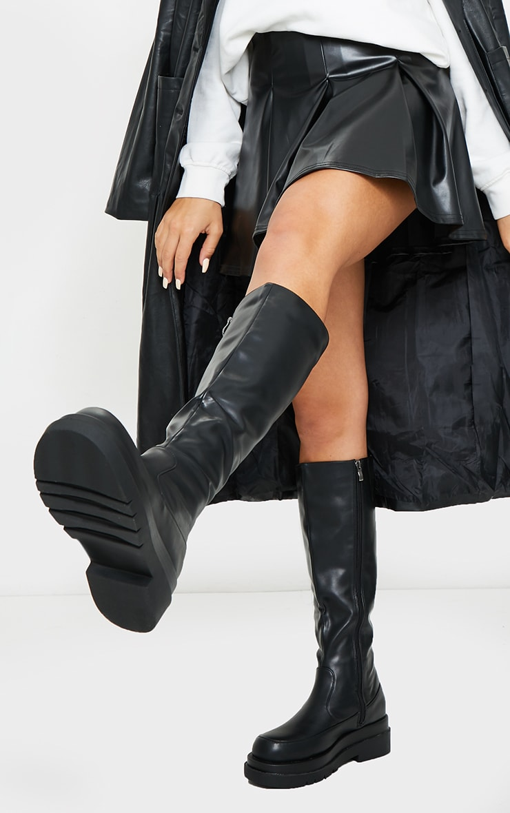 Black PU Knee High Chunky Sole Boots 1