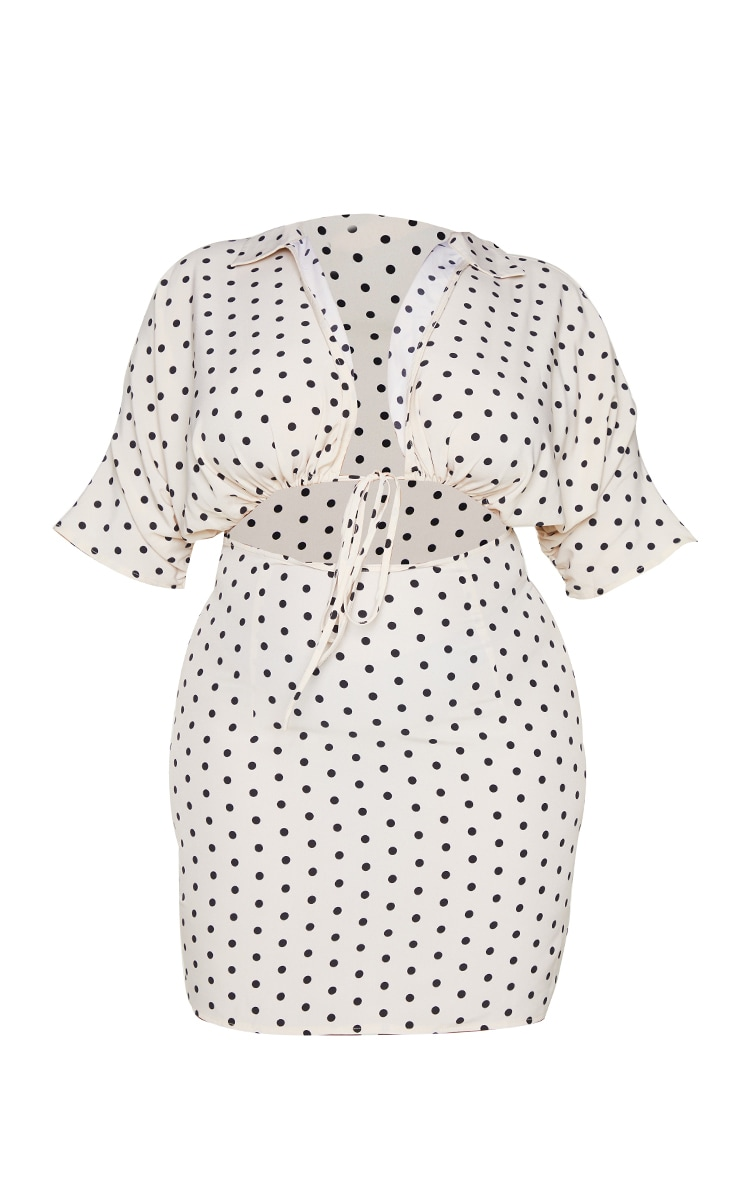 Plus Cream Polka Dot Cut Out Adjustable Ruched Dress 5