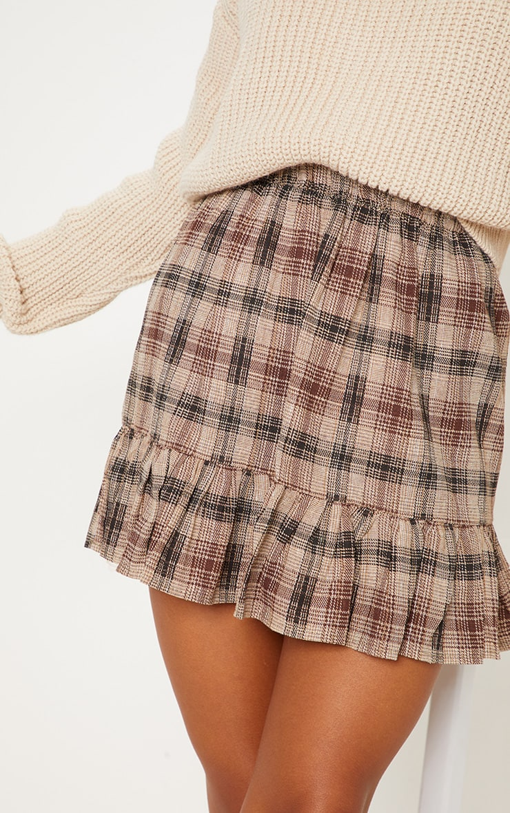 Chocolate Check Frill Hem Mini Skirt  5