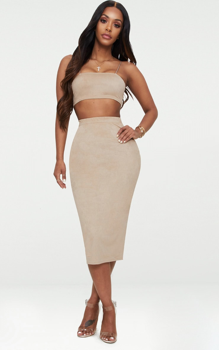 Shape Stone Faux Suede Midi Skirt 1
