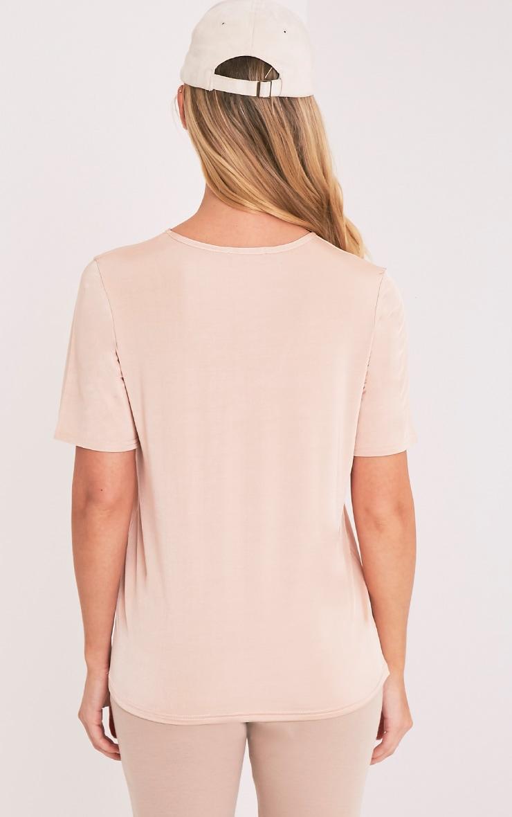 Gaia Nude Slinky V Neck T Shirt 2