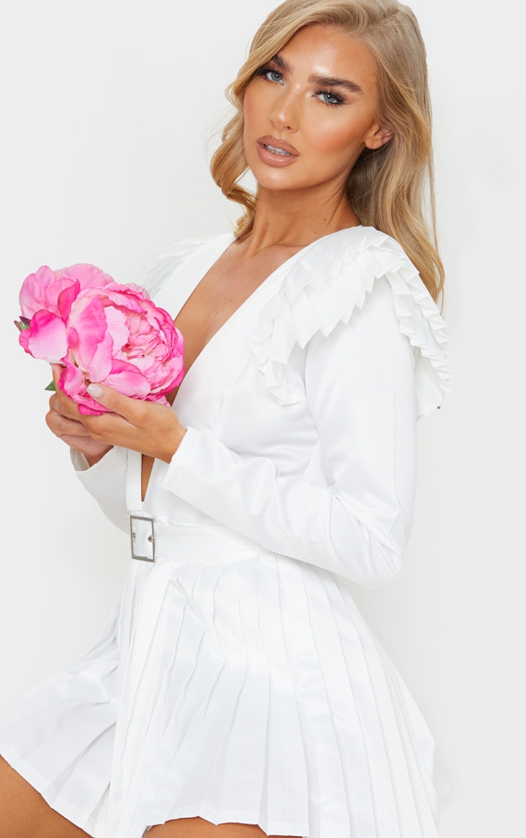 White Bonded Satin Plunge Pleated Detail Romper 4