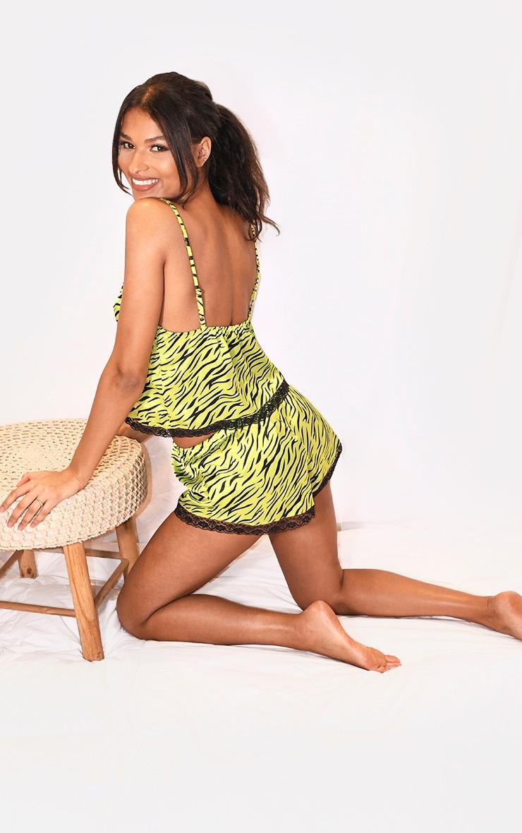 Green Zebra Print Lace Trim Satin Cami and Short PJ Set 2