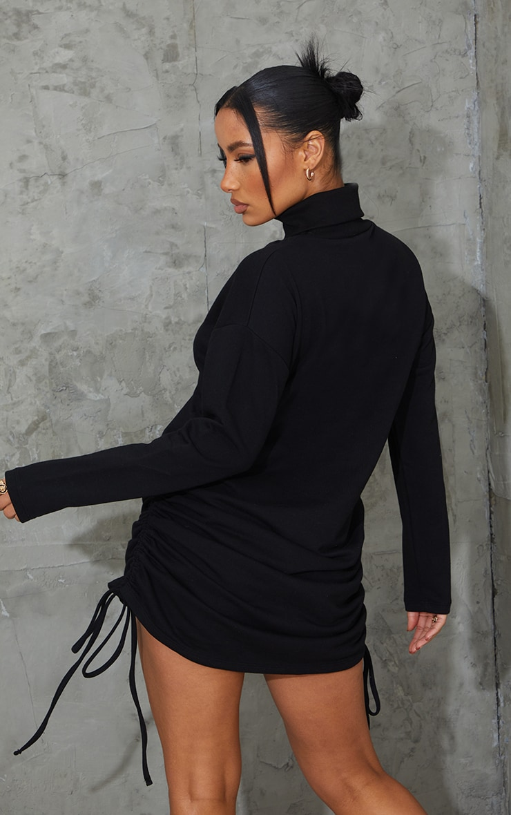 Black Roll Neck Ruched Side Long Sleeve Bodycon Sweat Dress 2