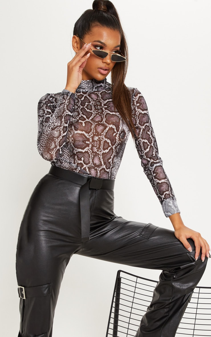 Mauve Snake Print High Neck Mesh Top 1