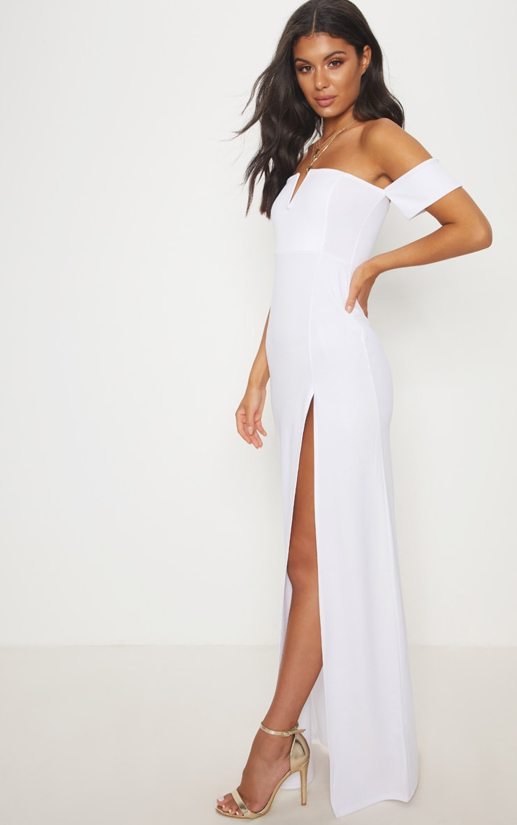 White Bardot V Bar Extreme Split Maxi Dress 4