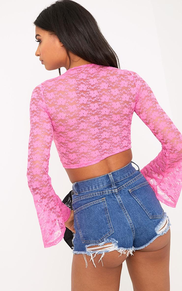Izobell Pink Lace Pom Pom Top  3