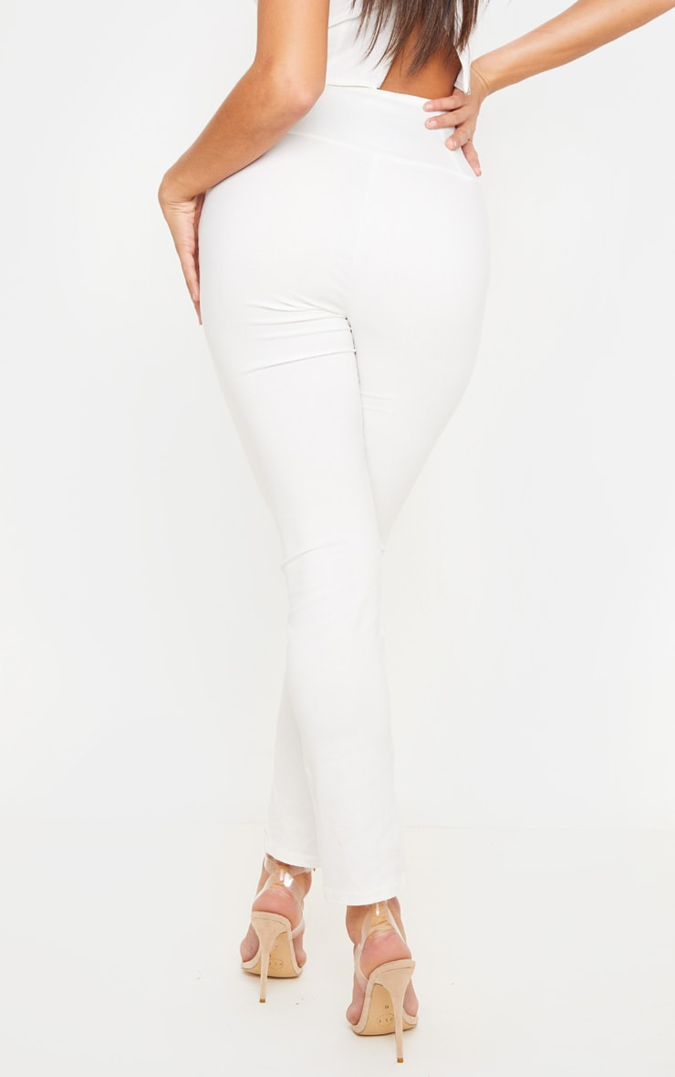 Cream Skinny Corset Detail Pants 4