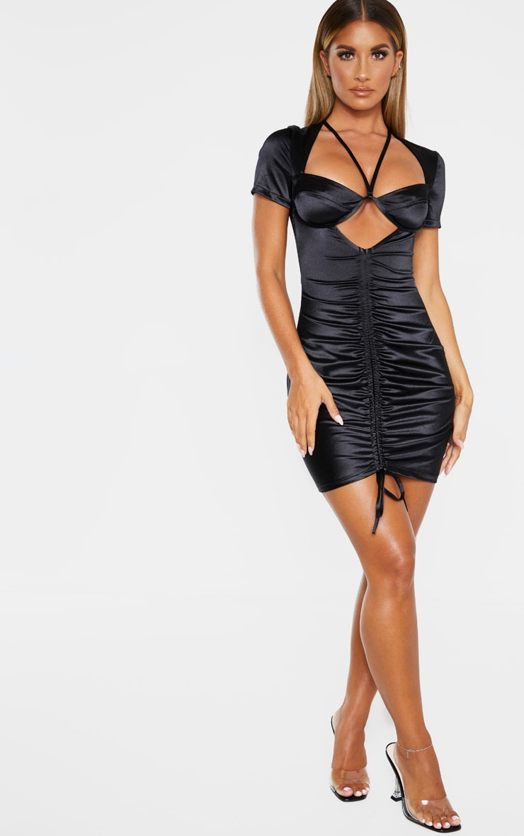 Black Satin Cup Detail Ruched Front Bodycon Dress 4