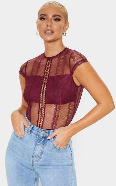 Wine Embroidered Lace Bodysuit