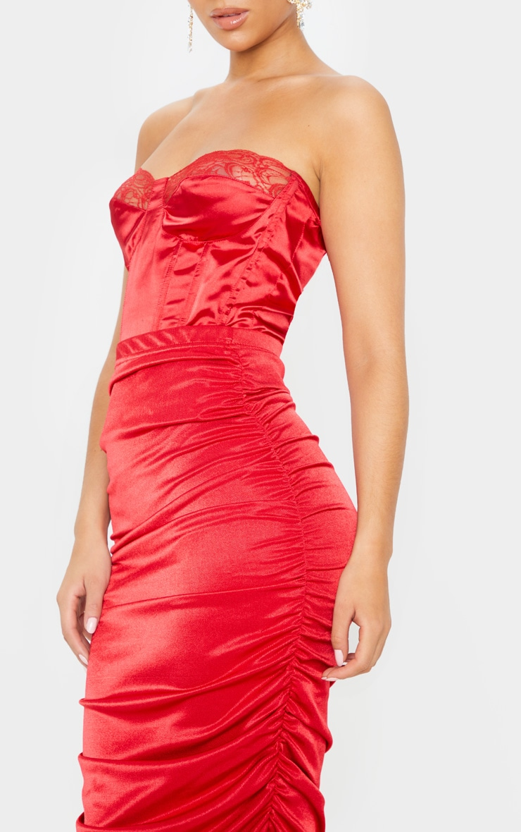 Deep Red Metallic Slinky Ruched Midi Skirt  5
