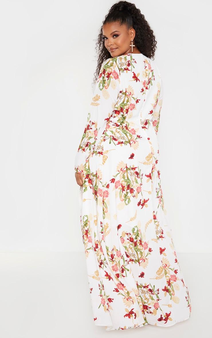 Plus White Oriental Twist Front Maxi Dress  2